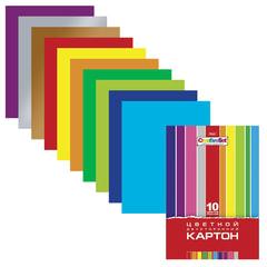 Цветной картон, А4, мелованный, двусторонний, 10 листов, 10 цветов, HATBER, «Creative», 195×280 мм, 10Кц4 05934