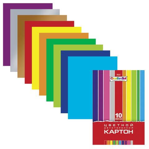 Цветной картон, А4, мелованный, двусторонний, 10 листов, 10 цветов, HATBER, «Creative», 195×280 мм