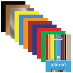 Цветной картон, А4, мелованный, 10 цветов, 235 г/<wbr/>м<sup>2</sup>, HATBER «Creative», 195×280 мм, 10Кц4 05809