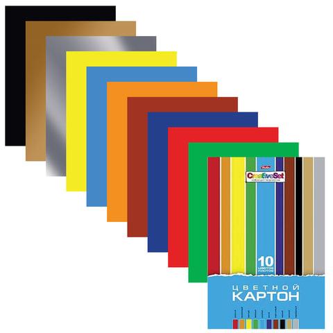 "Цветной картон, А4, мелованный, 10 цветов, 235 г/м2, HATBER ""Creative"", 195х280 мм, 10Кц4 05809"