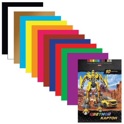 Цветной картон, А4, мелованный, 10 листов, 10 цветов, HATBER, «Трансформер», 195×280 мм