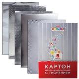 Цветной картон, А4, металлизированный, с тиснением, 5 листов, HATBER, «Creative», 195×280 мм