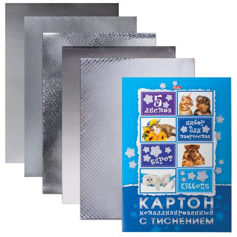 """Цветной картон, А4, металлизированный, с тиснением, 5 листов, HATBER, """"Любимцы"""", 195х280 мм, 5К4мтт 12144"""