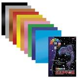 Цветной картон, А4, фольгинированный, 10 листов, 10 цветов, HATBER, «Дельфин», 195×280 мм