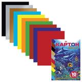 Цветной картон, А5, мелованный, 10 листов, 10 цветов, HATBER VK, «Дельфины», 140×195 мм