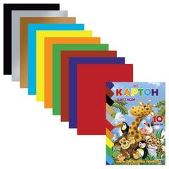 Цветной картон, А5, мелованный, 10 листов, 10 цветов, HATBER VK, «Зоопарк», 140×195 мм, 10Кц5к 10639