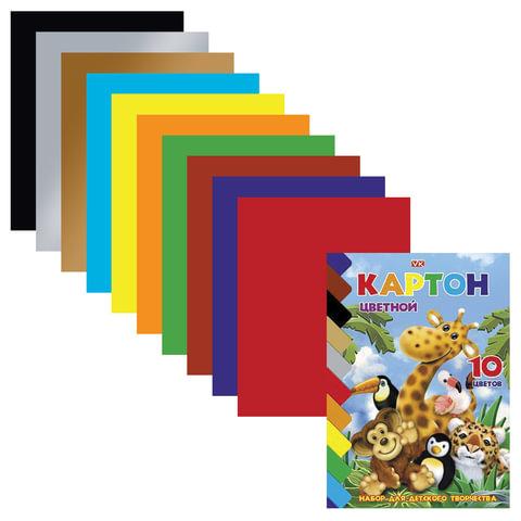 """Цветной картон, А5, мелованный, 10 листов, 10 цветов, HATBER VK, """"Зоопарк"""", 140х195 мм, 10Кц5к 10639"""