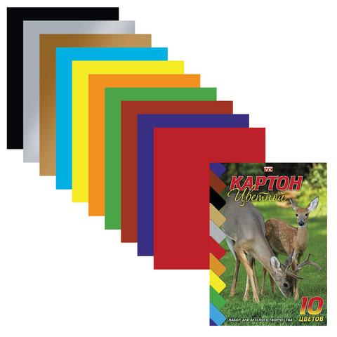 Цветной картон, А5, мелованный, 10 листов, 10 цветов, HATBER VK, «Олени», 140×195 мм