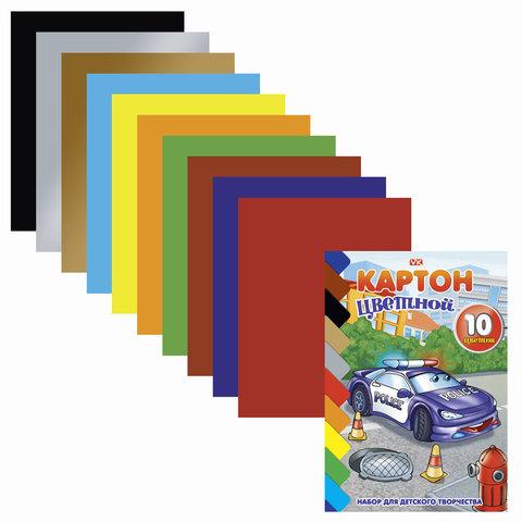 """Цветной картон, А5, мелованный, 10 листов, 10 цветов, HATBER VK, """"Тачки"""", 140х195 мм, 10Кц5к 09221"""