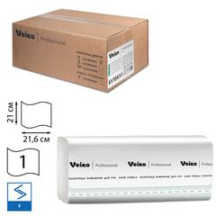 Полотенца бумажные 250 шт., VEIRO (Система H3/<wbr/>F1), комплект 15 шт., Basic, белые, 21×21,6, V, KV104