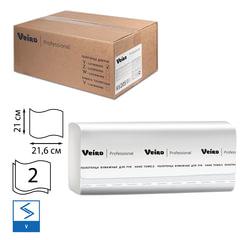 Полотенца бумажные 200 шт., VEIRO (Система H3/<wbr/>F1), комплект 15 шт., Comfort, 2-слойные, белые, 21×21,6, V, KV205