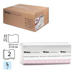 Полотенца бумажные 150 шт., VEIRO (Система H2/<wbr/>F2), комплект 21 шт., Premium, 2-слойные, белые, 32×21,6, W, KW309