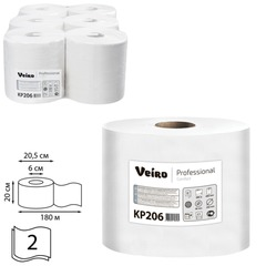 Полотенца бумажные с центральной вытяжкой VEIRO (Система M2/<wbr/>C1), комплект 6 шт., Comfort, 180 м, 2-слойные, белые, KP206