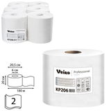 Полотенца бумажные с центральной вытяжкой VEIRO Professional (C1), компл. 6 шт., Comfort, 180 м, 2-х сл., белые, диспенсер 601827