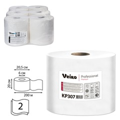 Полотенца бумажные с центральной вытяжкой VEIRO (Система M2/<wbr/>C1), комплект 6 шт., Premium, 200 м, 2-слойные, белые, KP307