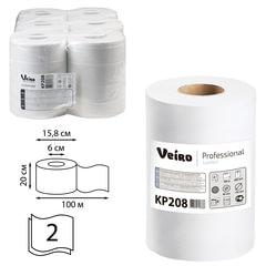 Полотенца бумажные с центральной вытяжкой VEIRO (Система M2/<wbr/>C1,C2), комплект 6 шт., Comfort, 100 м, 2-слойные, белые, KP208