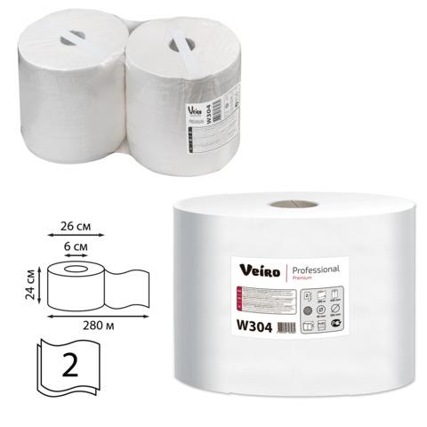 Бумага протирочная VEIRO (Система P1, P2), комплект 2 шт., Premium, 800 л./<wbr/>рулоне, 24×35 см, 2-слойная, W304
