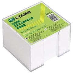 Блок для записей СТАММ «Офис» в подставке прозрачной, куб 9×9×5 см, белый, белизна 90-92%