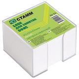 Блок для записей СТАММ «Офис»в подставке прозрачной, куб 9×9×5, белый