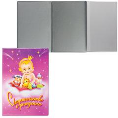 Папка адресная ПВХ «Свидетельство о рождении», 135×197 мм, с малышом, розовая, ДПС