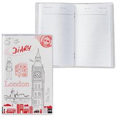 Ежедневник недатированный, А6, 101×160 мм, 50 л., с шариковой ручкой, прозрачная обложка ПВХ, «Лондон», ДПС