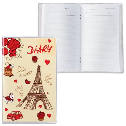 Ежедневник недатированный, А6, 101×160 мм, 50 л., с шариковой ручкой, прозрачная обложка ПВХ, «Париж», ДПС