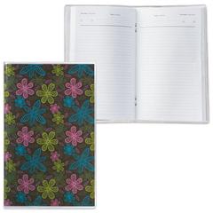 Ежедневник недатированный, А6, 101×160 мм, 50 л., с шариковой ручкой, прозрачная обложка ПВХ, «Цветы», ДПС