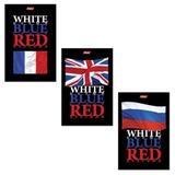 Блокнот А6, 40 л., склейка, ламинированная обложка, HATBER, «White Blue Red», 97×155 мм, 40Б6B1к