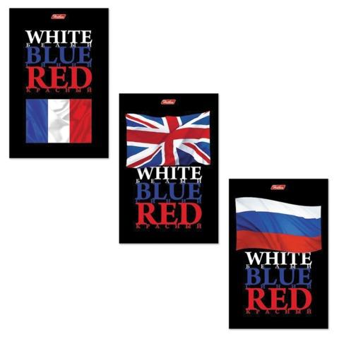"Блокнот А6, 40 л., склейка, ламинированная обложка, HATBER, ""White Blue Red"", 97х155 мм, 40Б6B1к"