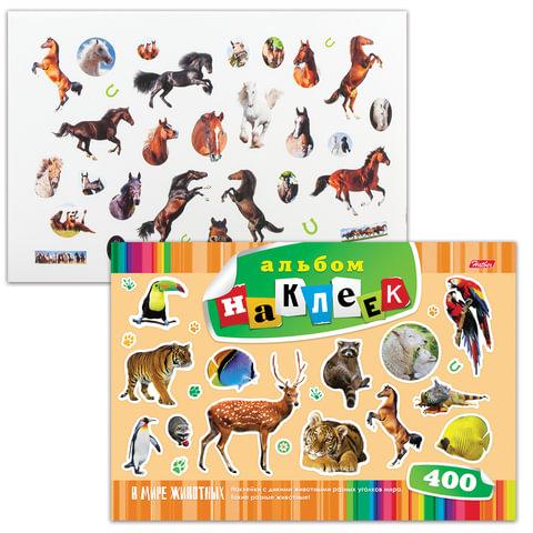 """Альбом наклеек, А4, 12 л., HATBER, 400 наклеек, """"В мире животных"""", 12Ан4 12640"""