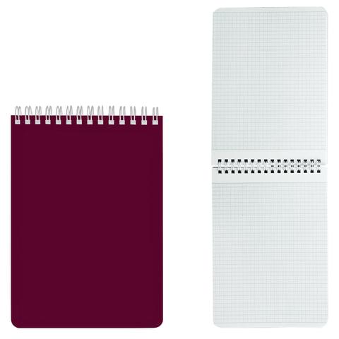 Блокнот А5, 60 л., гребень, лакированная обложка, HATBER, «Бордо», 145×212 мм