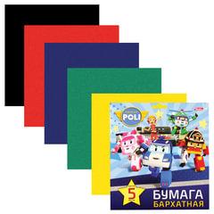 """Цветная бумага, А5, бархатная, 5 листов, 5 цветов, HATBER, «Машинки"""" (""""Robocar»), 170×180 мм, 5Ббх5 14287"""