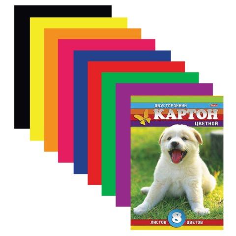 Цветной картон, А4, мелованный, двусторонний, 8 листов, 8 цветов, HATBER, «Белый щенок», 195×280 мм