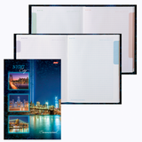 Блокнот 7БЦ, А4, 120 л., обложка ламинированная, 5-цветный блок, HATBER, «Ночной город»