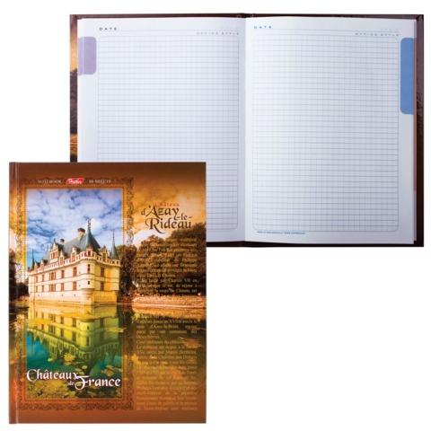 Блокнот 7БЦ, А5, 80 л., обложка ламинированная, 5-цветный блок, HATBER, «Замки Франции»