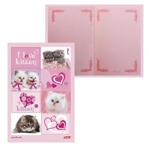 """Блокнот 7БЦ, А5, 80 л., обложка ламинированная, тонированный блок, HATBER, """"ВАНИЛЬ - I Love kitten"""", 80ББ5B5 06313"""