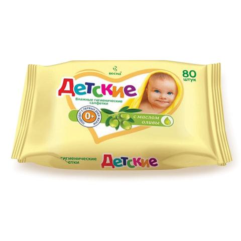 Салфетки влажные, 80 шт., ВЕСНА «Детские», универсальные очищающие, с маслом оливы