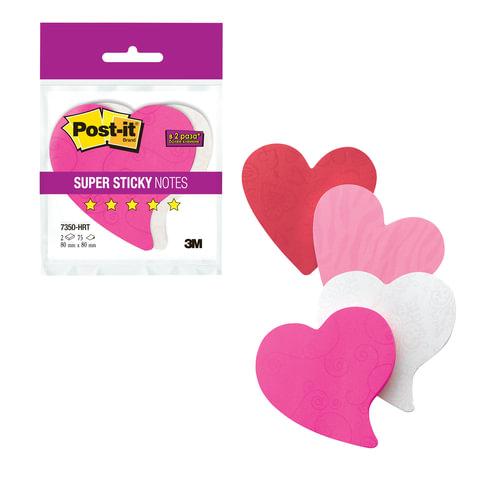 """Блоки самоклеящиеся (стикеры) POST-IT Super Sticky, комплект 2 шт., """"Сердце"""", 75 л., розовые/белые"""