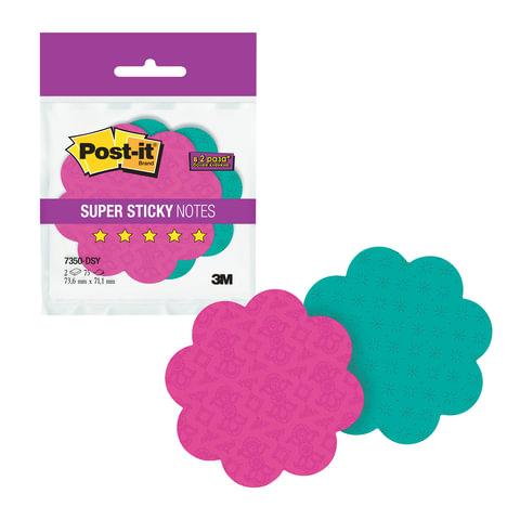 Блоки самоклеящиеся (стикеры) POST-IT Super Sticky, комплект 2 шт., «Цветы», 75 л., ассорти