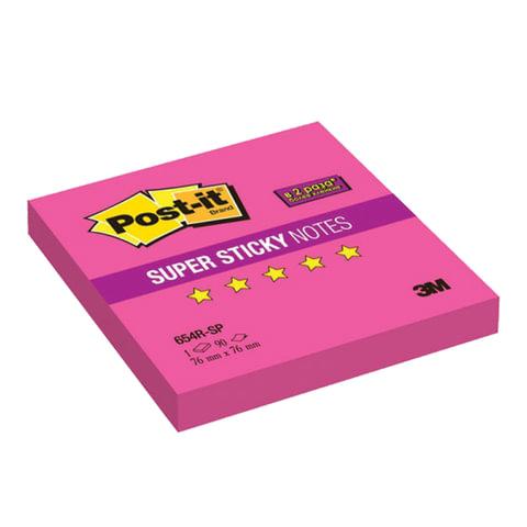 Блок самоклеящийся (стикер) POST-IT Super Sticky, 76×76 мм, 90 л., неоновый розовый