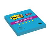 Блок самоклеящийся (стикер) POST-IT Super Sticky, 76×76 мм, 90 л., неоновый голубой