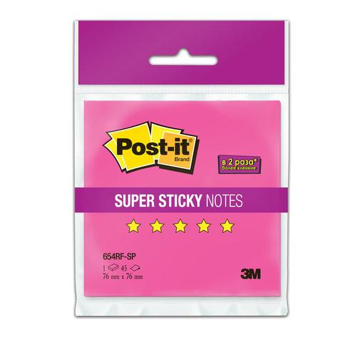 Блок самоклеящийся (стикер) POST-IT Super Sticky, 76х76 мм, 45 л., неоновый розовый