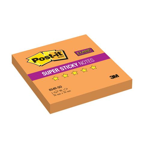 Блок самоклеящийся (стикер) POST-IT Super Sticky, 76×76 мм, 90 л., неоновый оранжевый