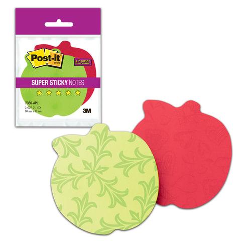 Блоки самоклеящиеся (стикеры) POST-IT Super Sticky, комплект 2 шт., «Яблоко», 75 л., красные/<wbr/>зеленые