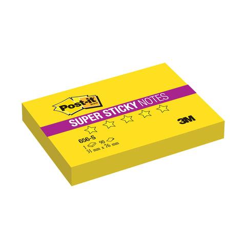 Блок самоклеящийся (стикер) POST-IT Super Sticky, 51×76 мм, 90 л., неоновый желтый