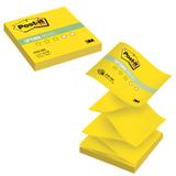 Блок самоклеящиеся (стикер) POST-IT Optima «Лето» (Z-блок), 76×76 мм, 100 л., желтый неон