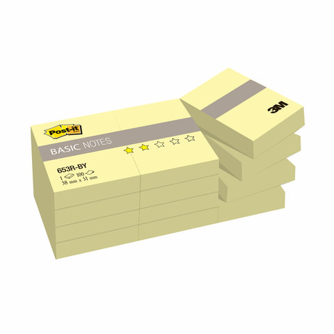 Блоки самоклеящиеся (стикеры) POST-IT Basic, комплект 12 шт., 38×51 мм, 100 л., желтые