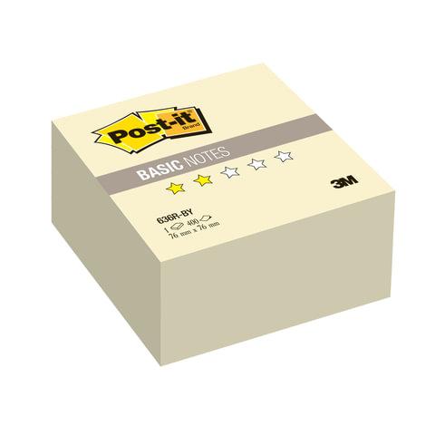 Блок самоклеящийся (стикер) POST-IT Basic, 76х76 мм, 400 л., желтый