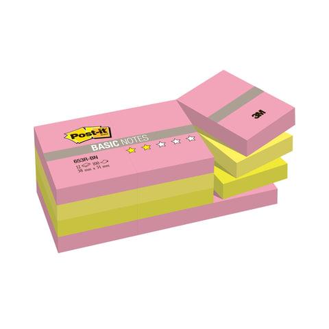 Блоки самоклеящиеся (стикер) POST-IT Basic, комплект 12 шт., 38×51 мм, 100 л., ассорти
