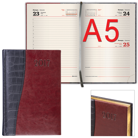 Ежедневник BRAUBERG (БРАУБЕРГ) датированный 2017, А5, 138×213 мм, «Cayman» («Кайман»), «крокодиловая кожа», 168 л.,черн/<wbr/>т-кор.